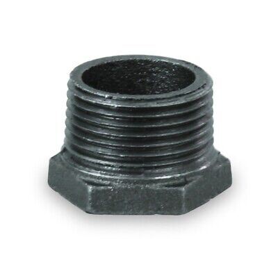"Bmbu1125 1-1/2 X 1"" Black Malleable Iron Bushing Fitting With Hexagonal Head"