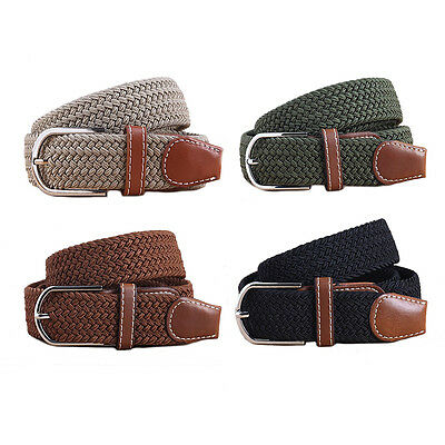 Men Women Woven Canvas Stretch Braided Elastic Waistband Waist Strap Belts Chic