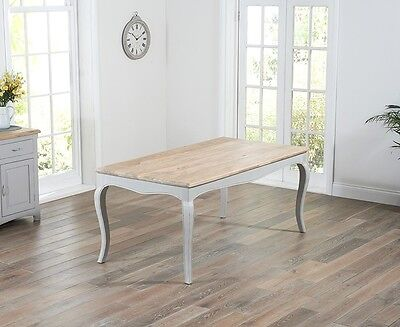 Adele French Painted Dining Room Furniture Dining Table with Oak top GREY