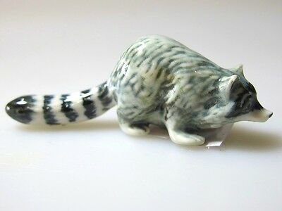 Hand Painted Dollhouse Miniature Collectible Ceramic Raccoon Figurine