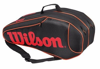 Wilson Burn Team 6 Pack Tennis Racket Bag (Black/Orange)