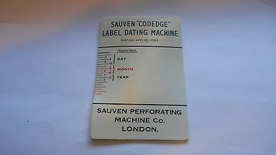 """Codedge"" Label reading card, ca1950, Sauven Perforating Co., London"