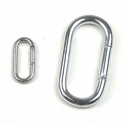 5 or 10pc Set- Zinc Plated Straight Oval Spring Snap Hook Carabiner