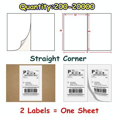 200-20000 Quality 8.5x5.5 Shipping Postage Labels Half Sheet Self Adhesive USPS