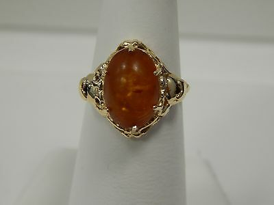 14K Yellow Gold Synthetic Amber Art Deco Ring
