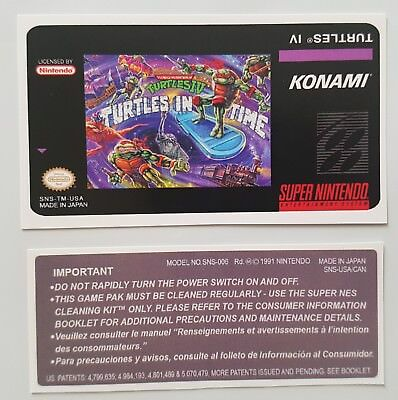 Replacement Snes Cartridge Sticker Labels For: Tmnt Iv Turtles In Time