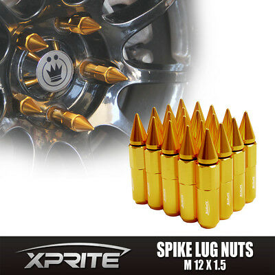 GOLD Aluminum Spike Tuner Extended Lug Nuts for Wheels Rims M12X1.5 60mm-20PC