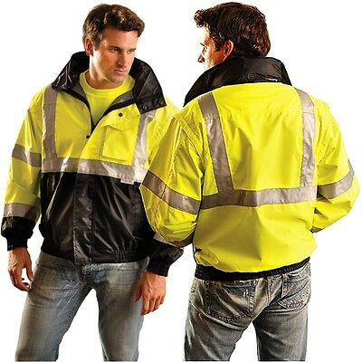 Occunomix LUX-TJBJ-B High Visibility Bomber Jacket ANSI Class 3 Black Bottom