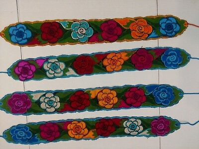 "Mexican Colorful Embroidered Flowers Wide Corset Belt 4"" wide Adjustable M/L 38"