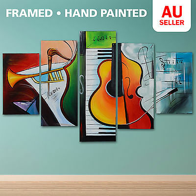 Modern Music Pure Hand Painted 5 Piece Oil Painting Wall Art Framed Canvas Set