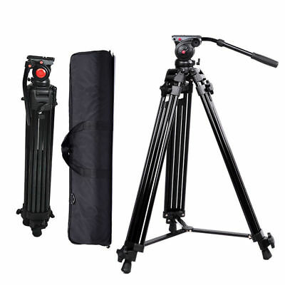 Professional Heavy Duty DV Video Camera Tripod Fluid Pan Head Kit w/ Handle Case