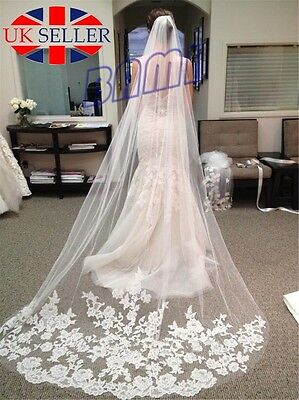 White Elegant 1T Cathedral Applique Edge Lace Bridal Wedding Veil With Comb *UK*