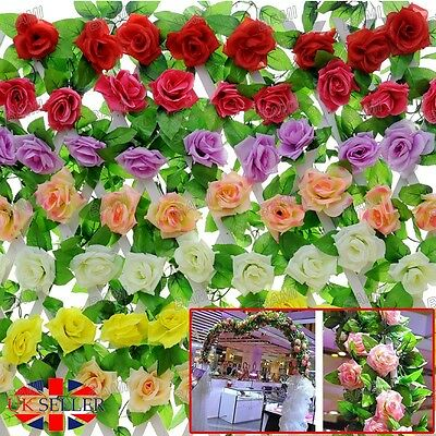 8Ft Artificial Fake Silk Rose Flower Ivy Vine Garland Wedding Party Home Decor