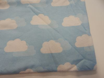 Clouds on Soft Blue Flannelette Baby Wrap Swaddle Blanket -100% Cotton
