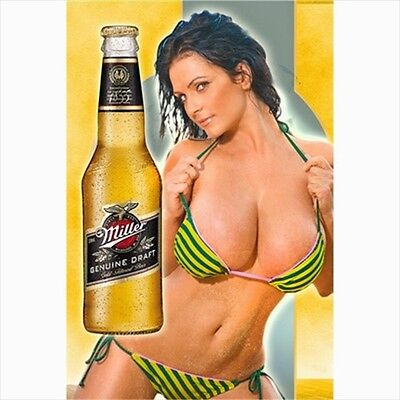 MILLER Beer Sexy Girl Canvas Poster Affiche - Gift Bar Pin up