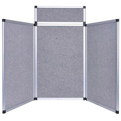 3 Set Panel Exhibition Folding Display Boards Stand Header Aluminum Frame Gray