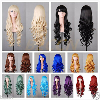 Fashion Long Wavy Curly Hair Anime Cosplay Party Full Wig Soft Synthetic Wigs
