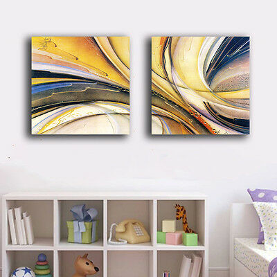 Set Of 2 Abstract Color Stretched Canvas Prints Framed Wall Art Decor Painting