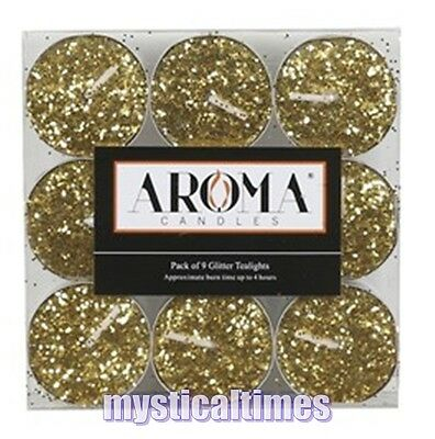 New * Gold Glitter  * Pack Of 9 Gold Glitter  Colour Tealight Candles