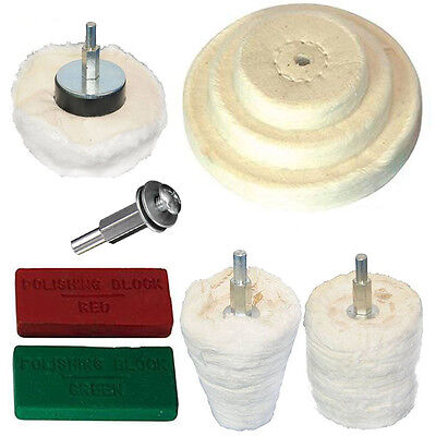 9 pc polishing kit Goblet Cylinder Dome polish buffing drill red green compound