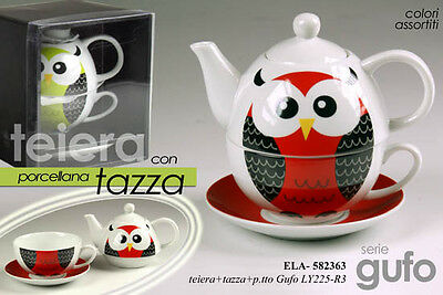 Set Da The Teiera Con Tazza E Piatto Porcellana Decoro Gufetto  Ela 582363