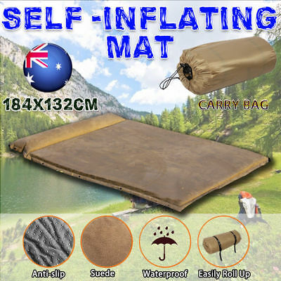 New Double Self inflating Mattress Sleeping Mat Joinable Air Bed Camping Hiking