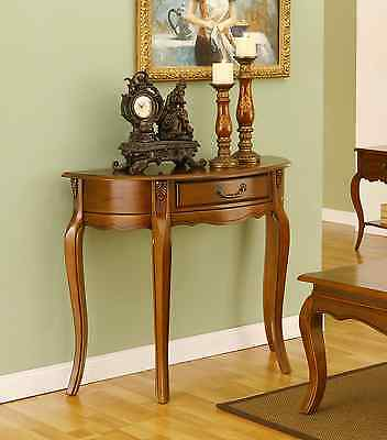 Mahogany Hall Console Entry 1 Drawer Half Moon Table Brown Antique Style Repro