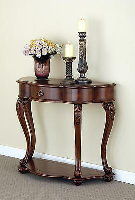 Mahogany Hall Console 1 Drawer Half Moon Table Brown Antique Style Scallop Edge