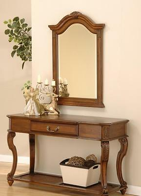 Mahogany Console Table and Mirror Antique Style Hall 1 Drawer Wood Reproduction