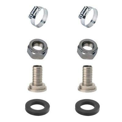 """2 Sets Draft Beer Tubing Tailpiece Barb Hex Nut Clamp Nipple Kit - 5/16"""" Inch ID"""