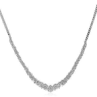0.50 Carat Natural Diamond Necklace in 14K White Gold-Plated Bronze - 18""