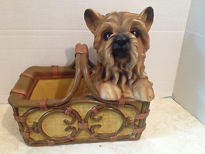 Vintage Large Resin Dog In a Basket Planter