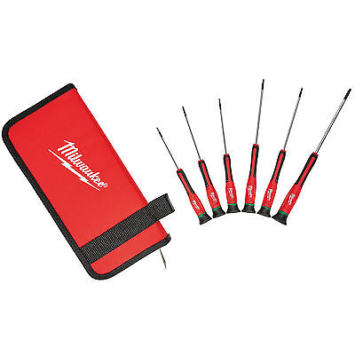 6 PC TORX Precision Screwdriver Set w/ Case Milwaukee 48-22-2610 New