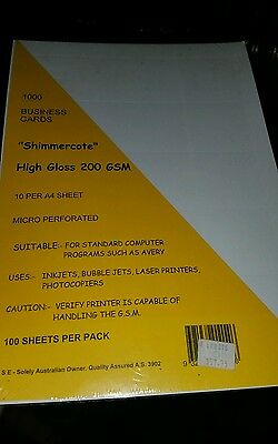 1000 Business Cards Single Sided Full Colour Printing on 200gsm High Gloss Paper