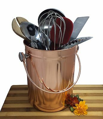 Kitchen Utensil Holder Organizer Caddy Crock   Copper Coated Stainless  Steel .
