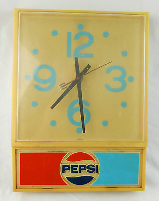 Vintage 1976 Pepsi Cola Electric Wall Clock, Tested & Working