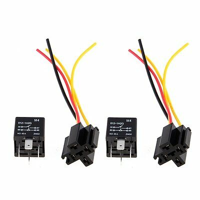 2 x Car Relay Automotive Relay 12V 40A 4 Pin Wire with 5 outlets NEW