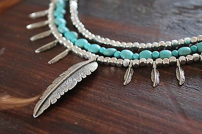 Gorgeous Handmade 3 Layer Turquoise Bead & Silver Leaf Feather Charm Necklace