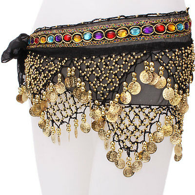 New 2 Rows Belly Dance Dancing Gold Coins Belt Hip Scarf with Beads Black C-95