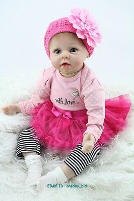 "22"" Soft Silicone Baby Reborn Doll Lifelike Pink Dress Hat Doll Kid Gift"