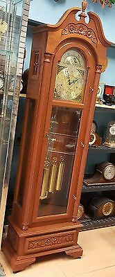 ALPHA GRANDFATHER CLOCK - SOLID WOOD CARVED CASE, GERMAN  WORKS 30-40 Years Old