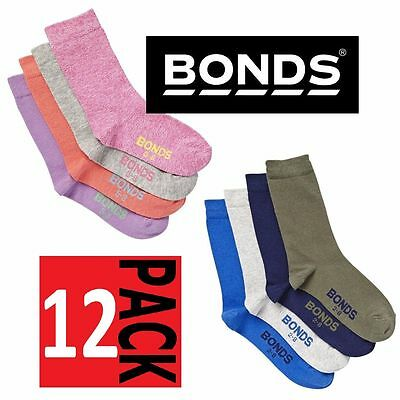12 PACK x BONDS KIDS SOCKS Crew School Blue Grey Navy Pink Purple ~ All sizes