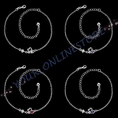 Stunning 925 Sterling Silver Plated Zirconia Swan Anklet