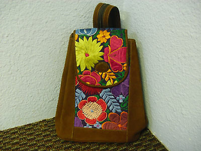 Guatemala Soft Suede Leather Embroidered Colorful Back Pack