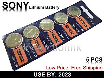 5x Sony CR2032 2032 BR2032 KCR2032 L14 3V cell coin button battery USE BY 2028