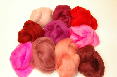 Pink / Red Merino Wool dyed roving tops 10 colours needle felting wet felting