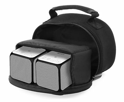 Black Carry Case w/ Handle For TWO Sony SRS-X11 Bluetooth Wireless Speakers