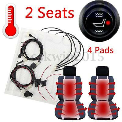 4Pcs 12V Universal Carbon Fiber Heated Car Seat Built-in Heating Heater Pads