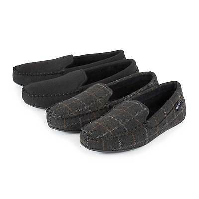 Isotoner Mens Woven Check Moccasin Slippers