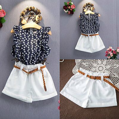 2PCS Toddler Kids Baby Girls Summer T-shirt +Shorts Pants Clothes Outfits Set